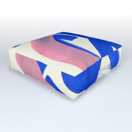 Tribal Pink Blue Fun Colorful Mid Century Modern Abstract Painting Shapes Pattern Outdoor Floor Cushion