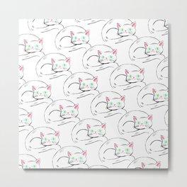 Cozy White Kitty Pattern Metal Print