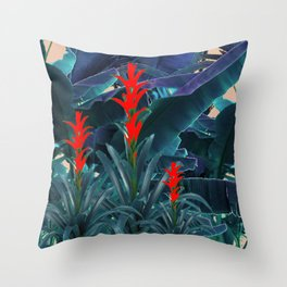 RED BROMELIAD FLOWERS & BLUE  JUNGLE LEAVES Throw Pillow