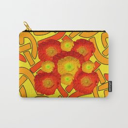 Decorative Orange Poppies Color Yellow Celtic Art Carry-All Pouch