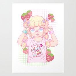 Kawaii strawberry milk girl Art Print