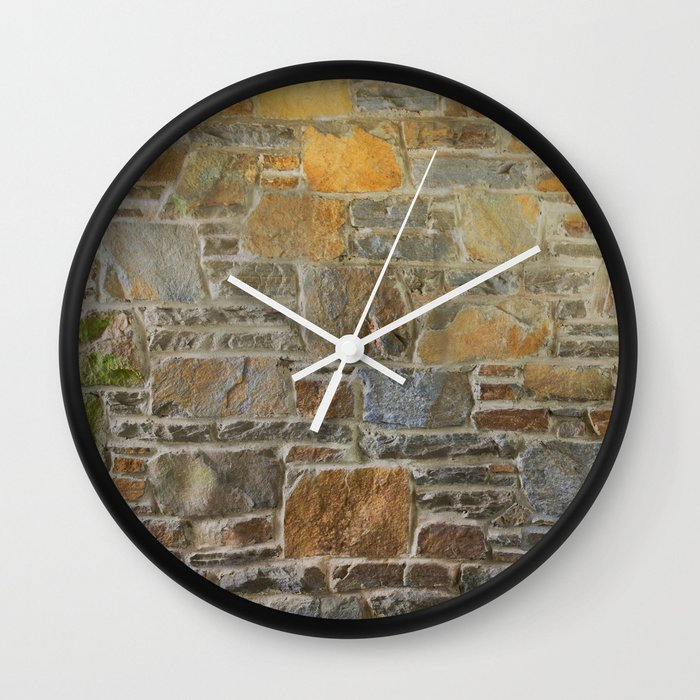 Avondale Brown Stone Wall and Mortar Texture Photography Wall Clock