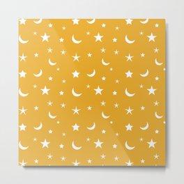 White moon and star pattern on orange background Metal Print