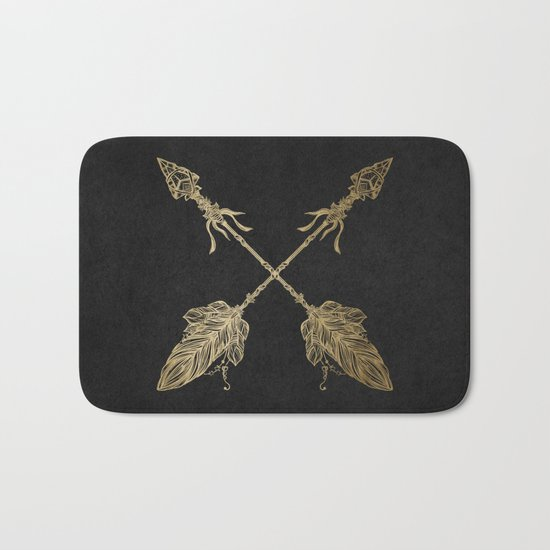 Gold Arrows on Black Bath Mat