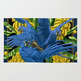 Hyacinth Macaws and bananas Stravaganza (black background). Rug
