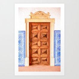 Weathered Brown Wood Door of Old World Medieval Europe Art Print