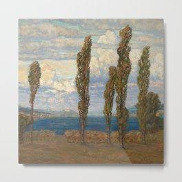 Landscape with lake and poplars by Hélène Funke Metal Print