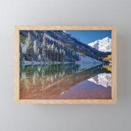 Fall Season at Maroon Bells Panoramic Image Framed Mini Art Print