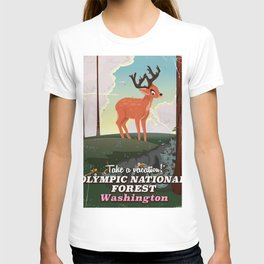 Olympic National Forest vintage cartoon travel poster T-shirt