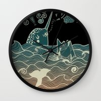 narwhal Wall Clocks featuring Narwhal by Judit Canela