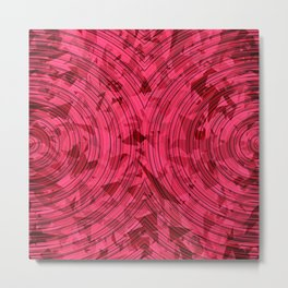 psychedelic geometric circle pattern abstract background in red and pink Metal Print