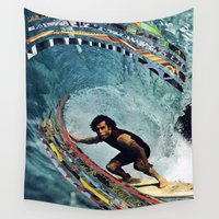 surfing Wall Tapestries featuring Surfing by Ben Giles