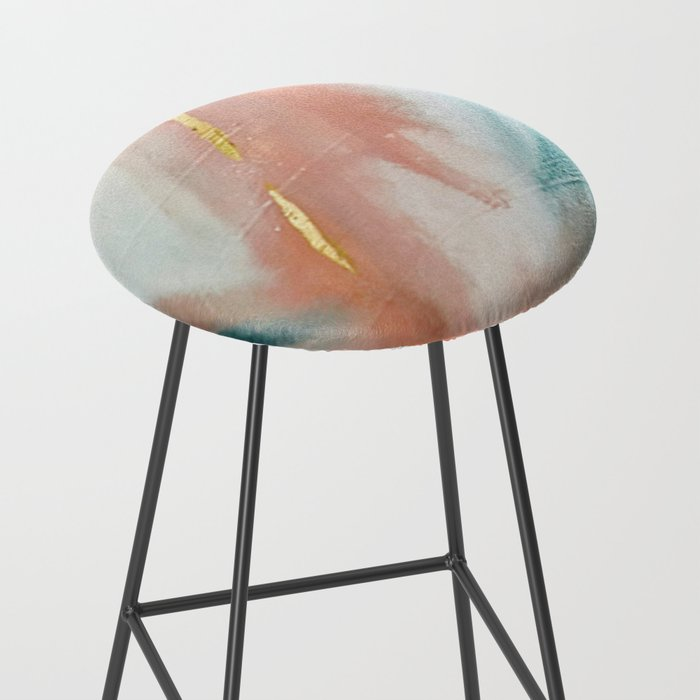 Celestial [3]: a minimal abstract mixed-media piece in Pink, Blue, and gold by Alyssa Hamilton Art Bar Stool