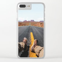 on the road in the monument valley Clear iPhone Case