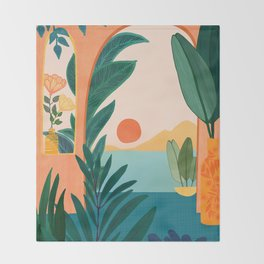 Tropical Evening Throw Blanket