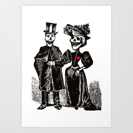 Calavera Couple | Skeleton Couple | Calaveras | Vintage Couple | Victorian Gothic | Art Print