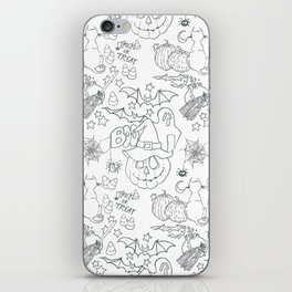 Halloween pattern in black and white iPhone Skin
