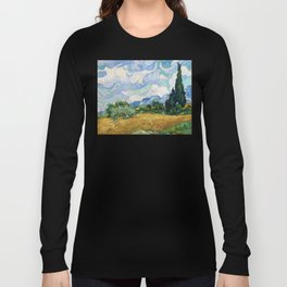 Wheat Field with Cypresses by Vincent van Gogh Long Sleeve T-shirt