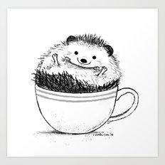 Hedgehog in Mug Art Print