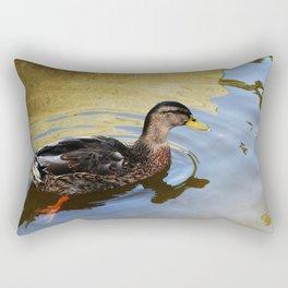 Duck swimming in a golden lake Rectangular Pillow