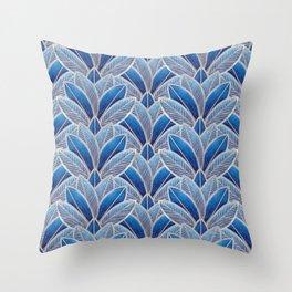 Art nouveau leaf pattern blue Throw Pillow