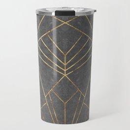 Art Deco in Gold & Grey - Large Scale Travel Mug