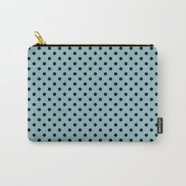 Small black polka dots on a light blue background. Carry-All Pouch