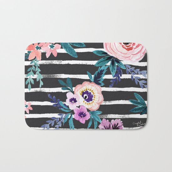 Victoria Floral Stripe Black Bath Mat