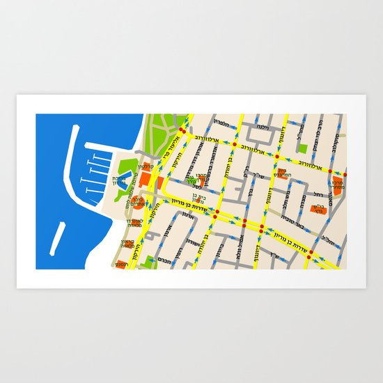 Tel Aviv Map - Gordon beach Art Print
