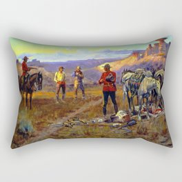 """""""Whiskey Smugglers"""" by Charles M Russell Rectangular Pillow"""