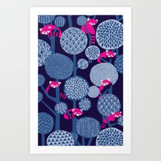 Red Panda Forest - Blue Art Print