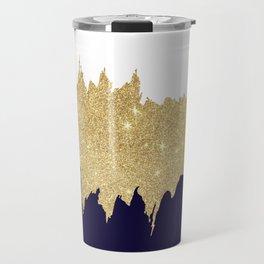 Modern navy blue white faux gold glitter brushstrokes Travel Mug