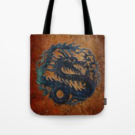 Blue Chinese Dragon on Stone Background Tote Bag