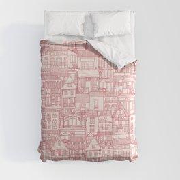 cafe buildings pink Comforters