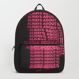 All about you quote grunge abstract Backpack