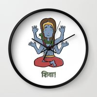 shiva Wall Clocks featuring shiva by Schmucky Duck