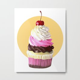 Neopolitan cupcake Metal Print