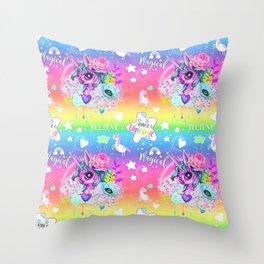 I wanna be a Unicorn Pattern Throw Pillow