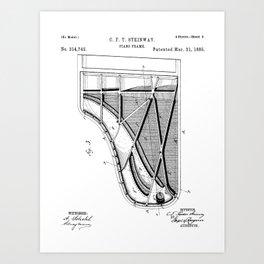 Steinway Piano Patent - Piano Player Art - Black And White Art Print