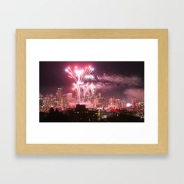 Happy New Years Seattle Framed Art Print