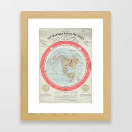 Flat Earth Society Wall Map Framed Art Print