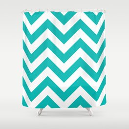 Large Chevron Pattern / Tiffany Blue Shower Curtain