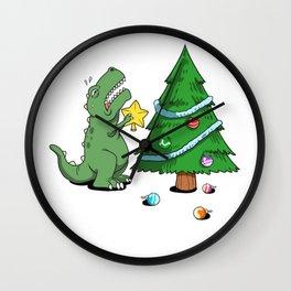 Funny Struggle Is Real Dinosaur Christmas Tree Star Shirt Wall Clock