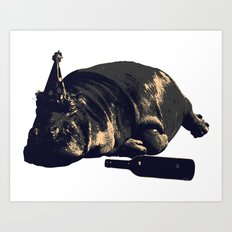 Hippo in Party Hat Art Print