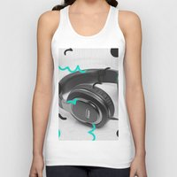 headphones Tank Tops featuring Headphones by Oliver Green