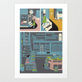 Bookstore cats Art Print