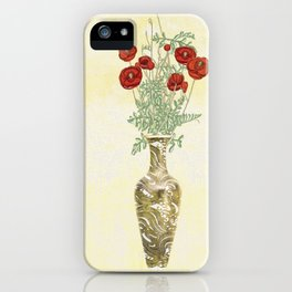 Poppies in Golden Vase iPhone Case