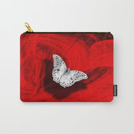 Silver butterfly emerging from the red depths Carry-All Pouch