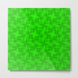 Stylish graphic pattern with iridescent triangles and green squares in zigzag shapes. Metal Print
