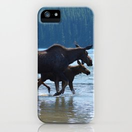 Mother moose & calf at Maligne Lake in Jasper National Park iPhone Case